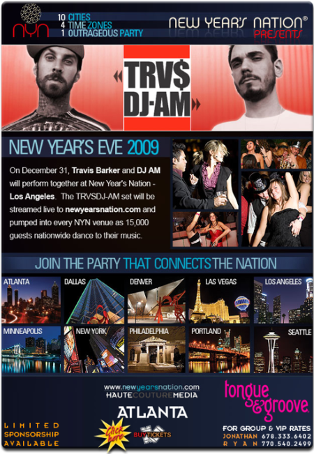 New Years EVE Party in 10 cities (Travis Barker, DJ AM, State of Man etc)