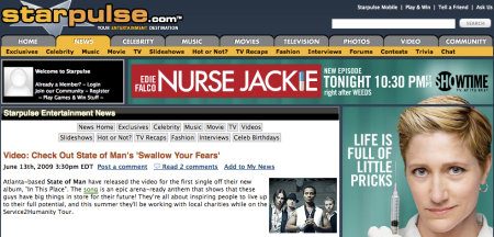 "Starpulse Feature for Video of ""Swallow Your Fears"""